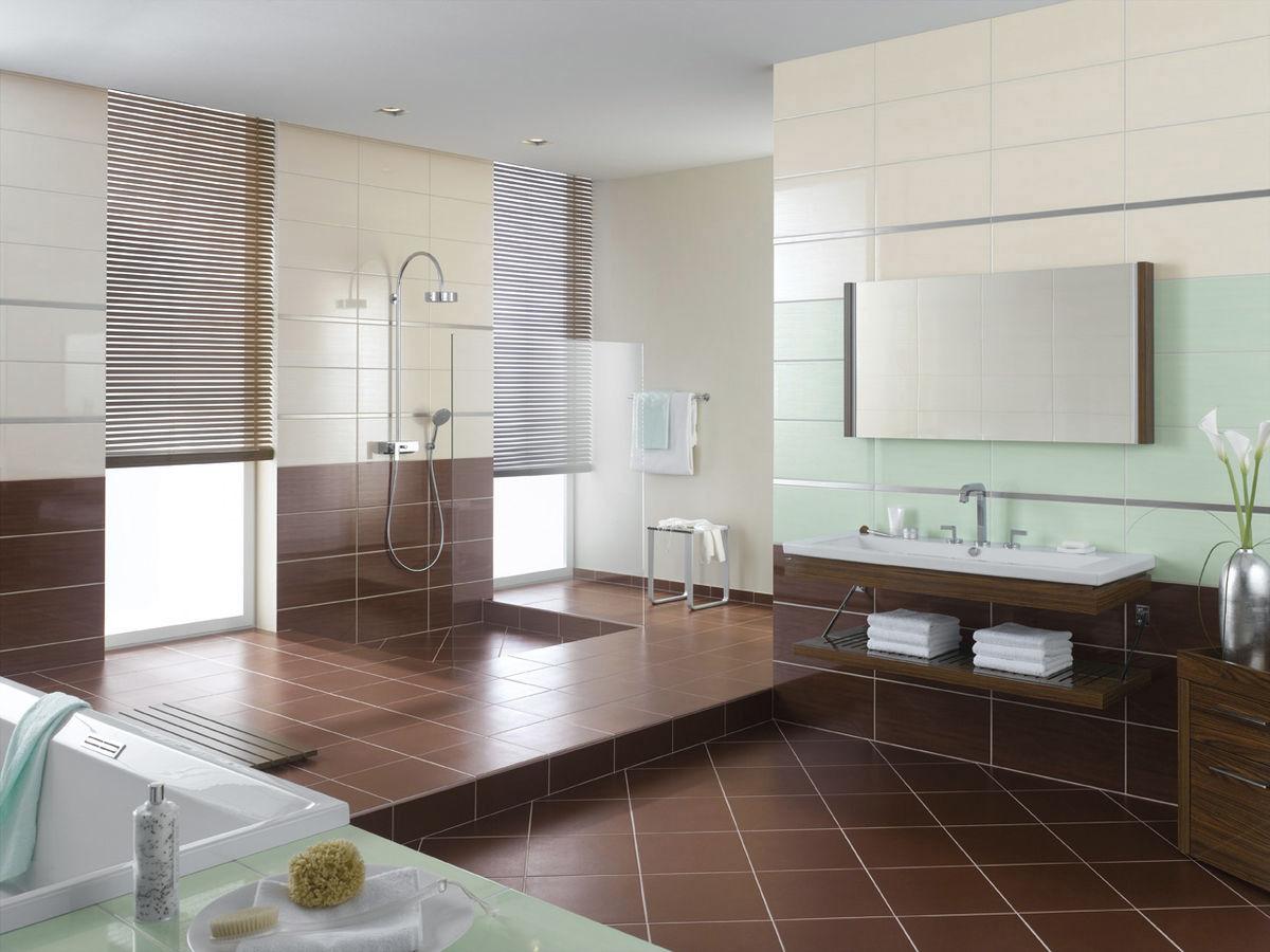 Диагональная укладка коричневой плитки в ванной комнате