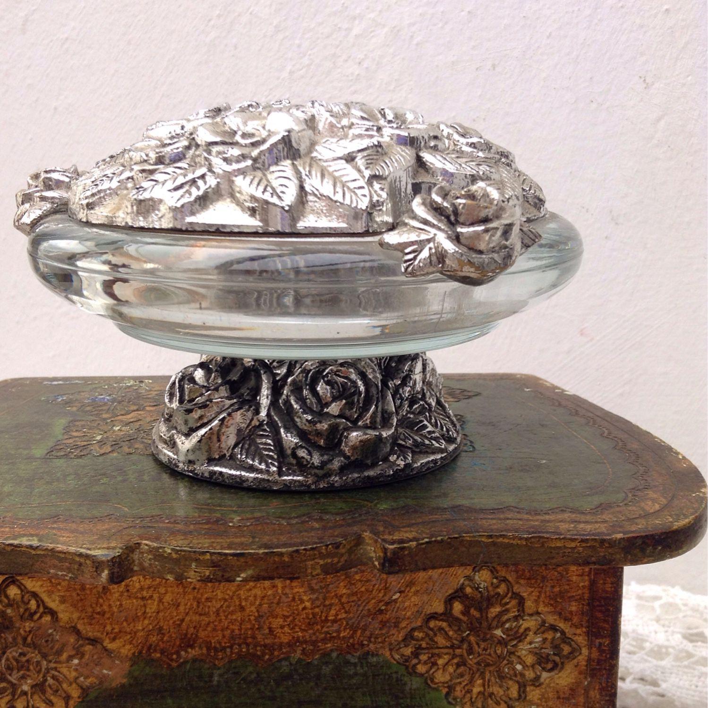 Хрустальная шкатулка с серебром