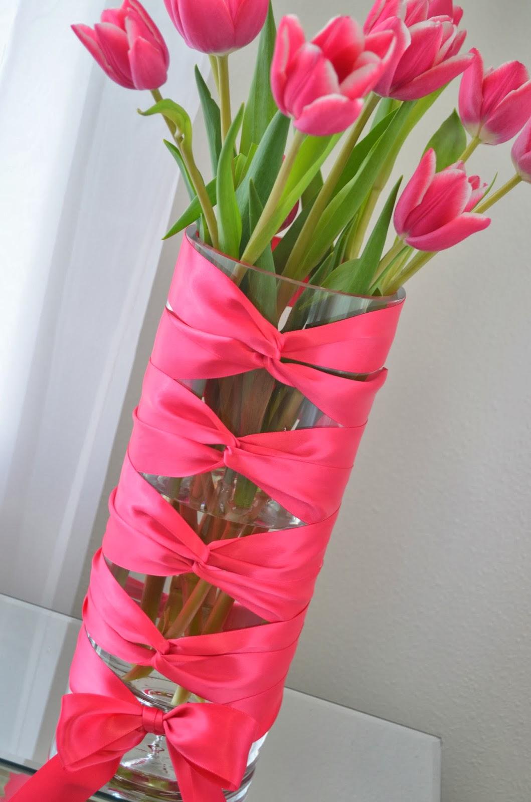 Декор вазы лентами