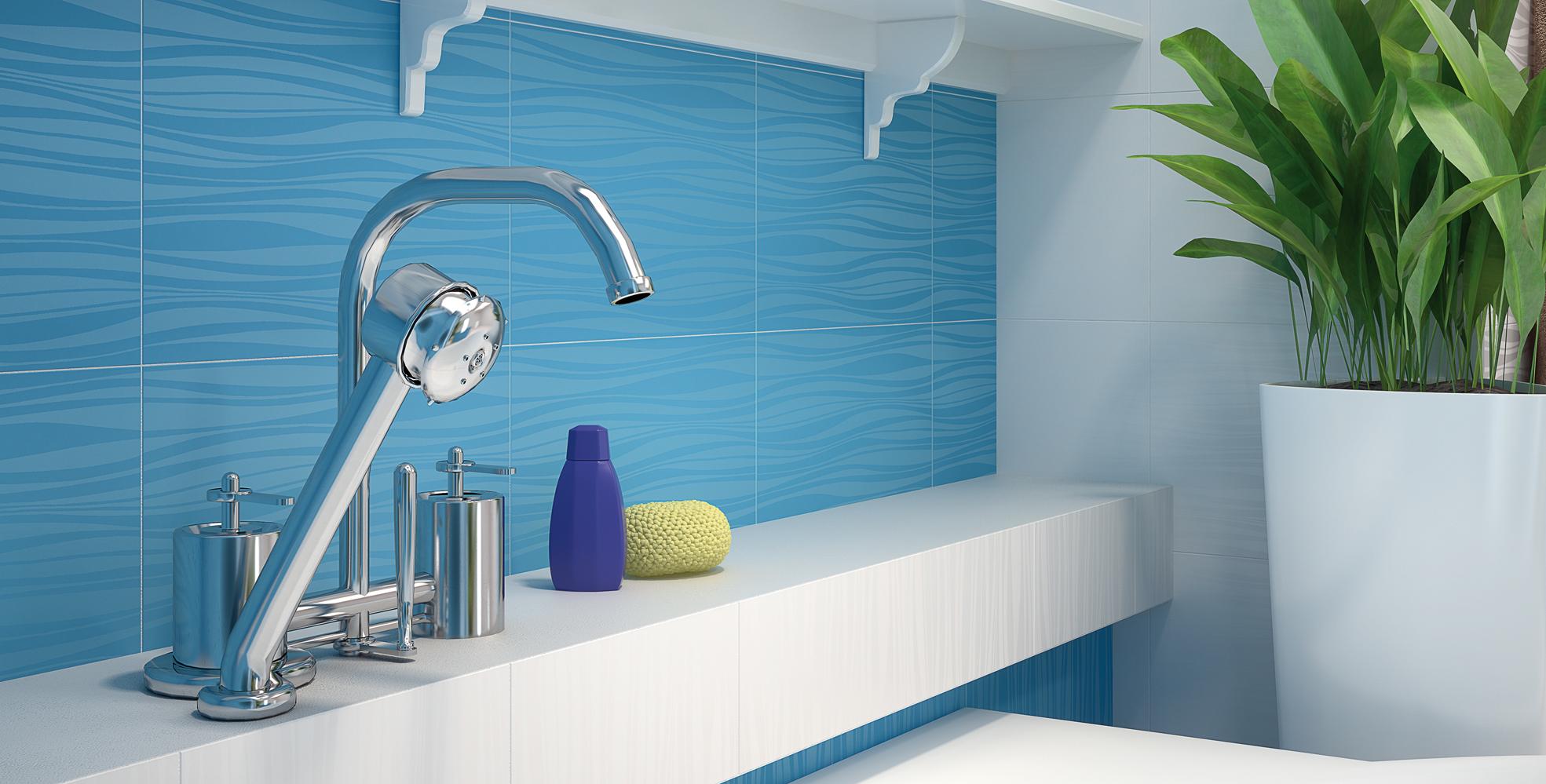 Голубая плитка в волнообразным рисунком
