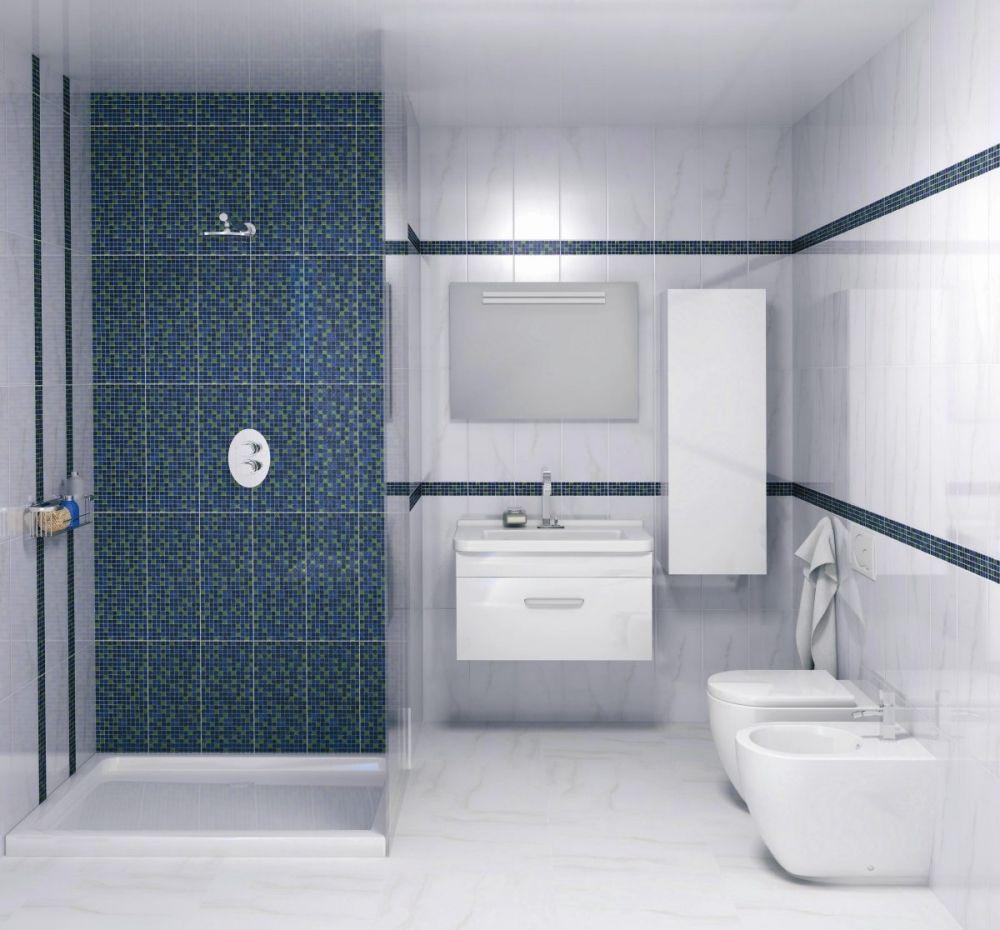 Декоративные вставки из синей мозаики в ванной