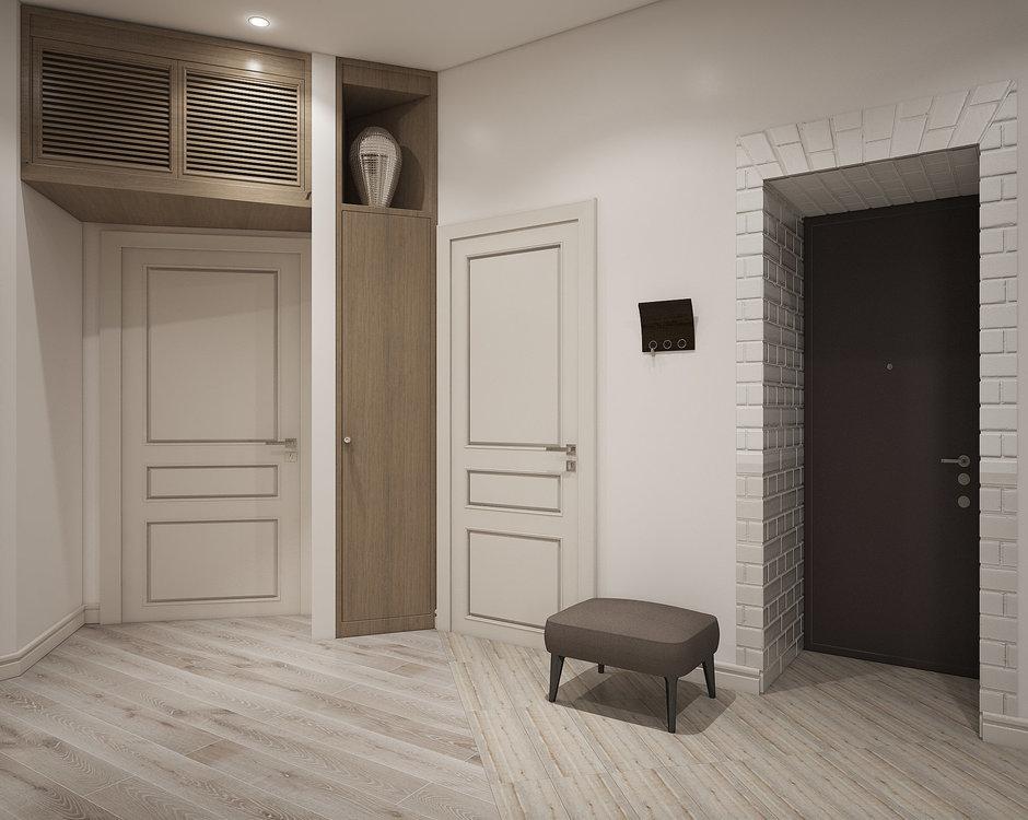Встроенный шкаф-пенал в интерьере прихожей