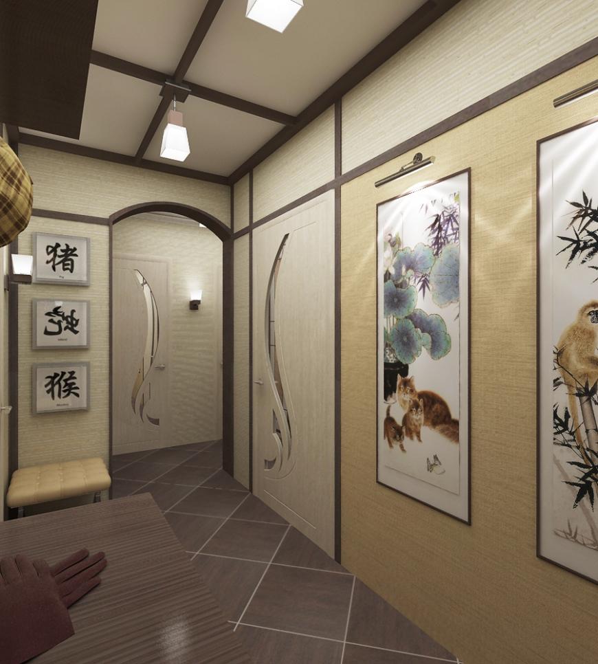 Картины в японском стиле в прихожей