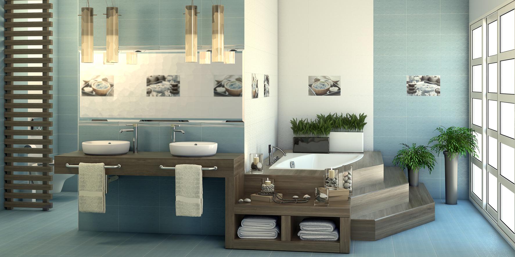 Голубая плитка в японском стиле