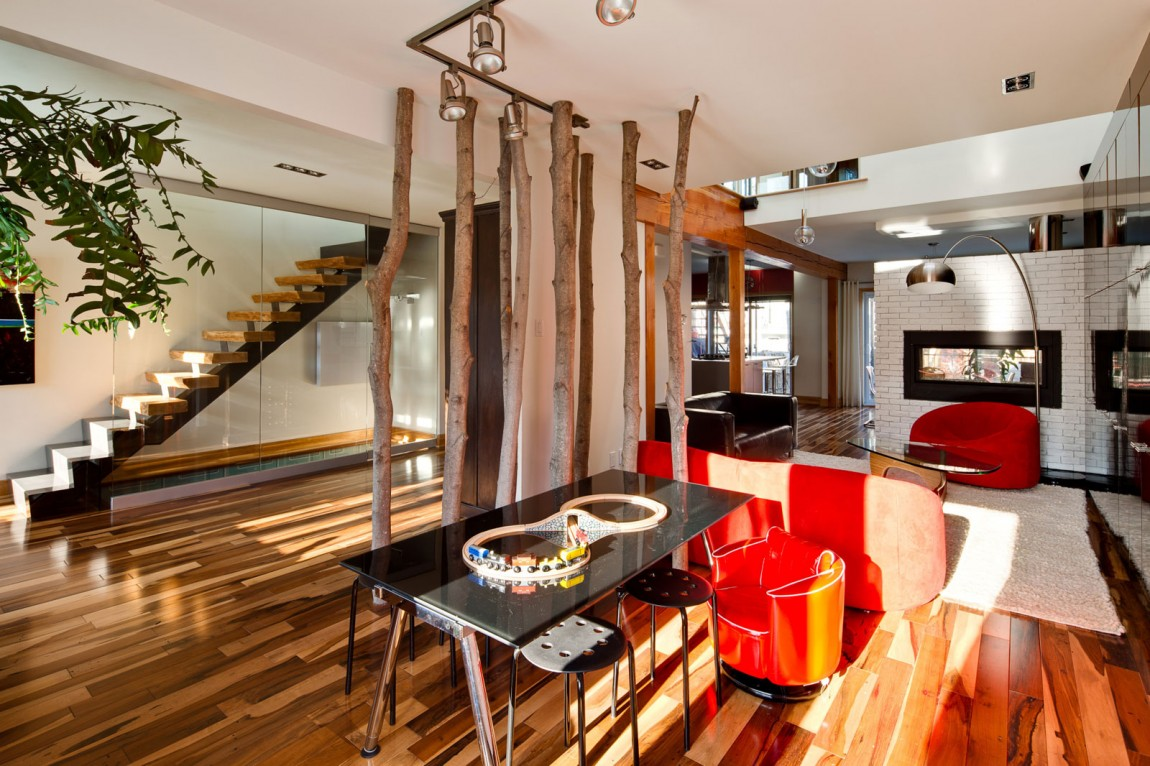 Перегородка между кухней и гостиной в загородном доме