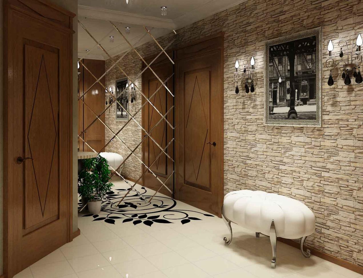 Стеновые зеркальные панели в коридоре