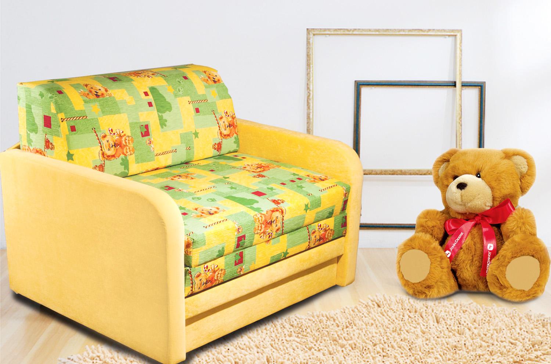 Детское кресло-кровать желтого цвета