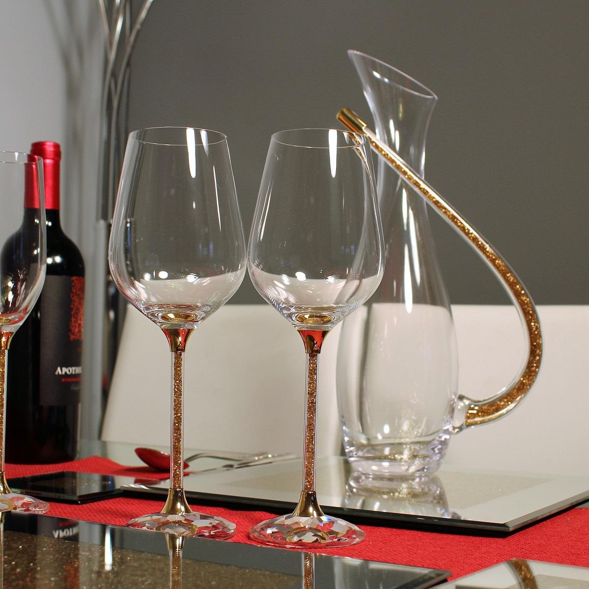 Хрустальные бокалы с золотым декором