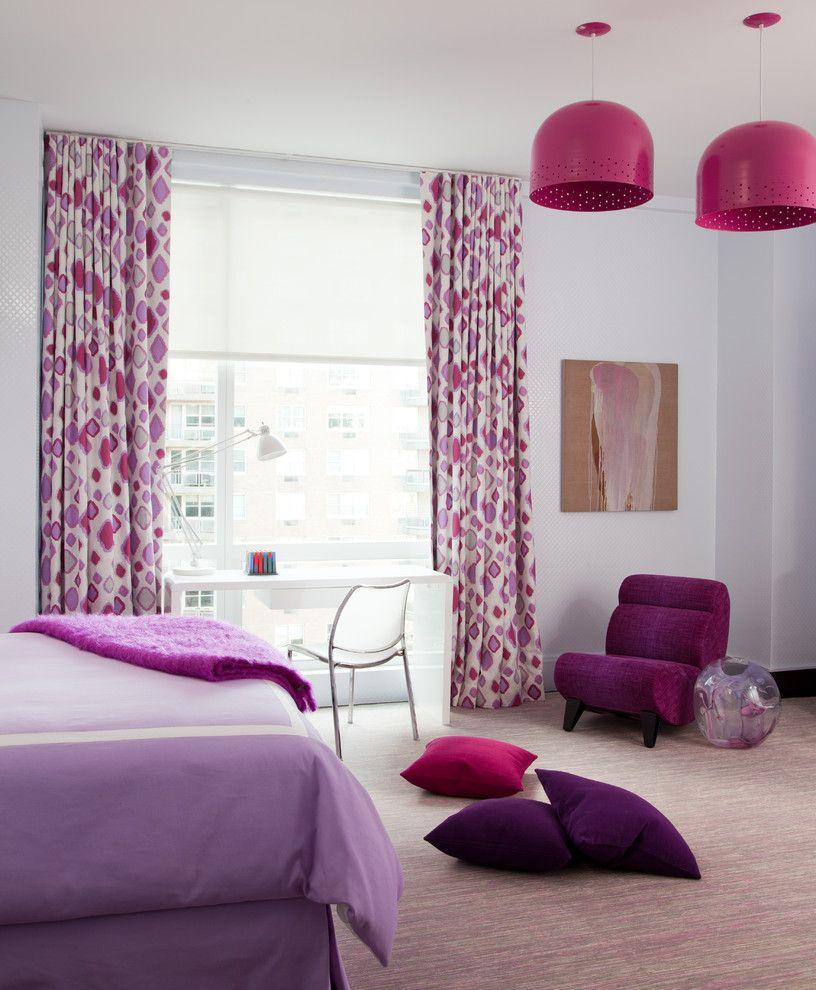 Сиреневые акценты в интерьере спальни