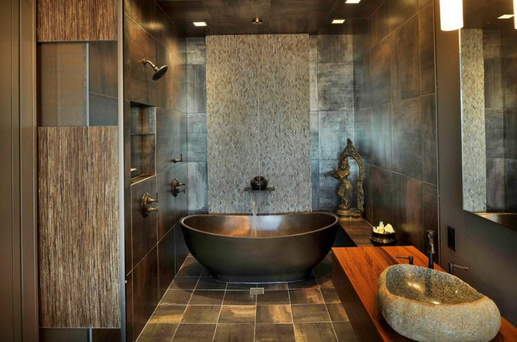 Каменная овальная ванна