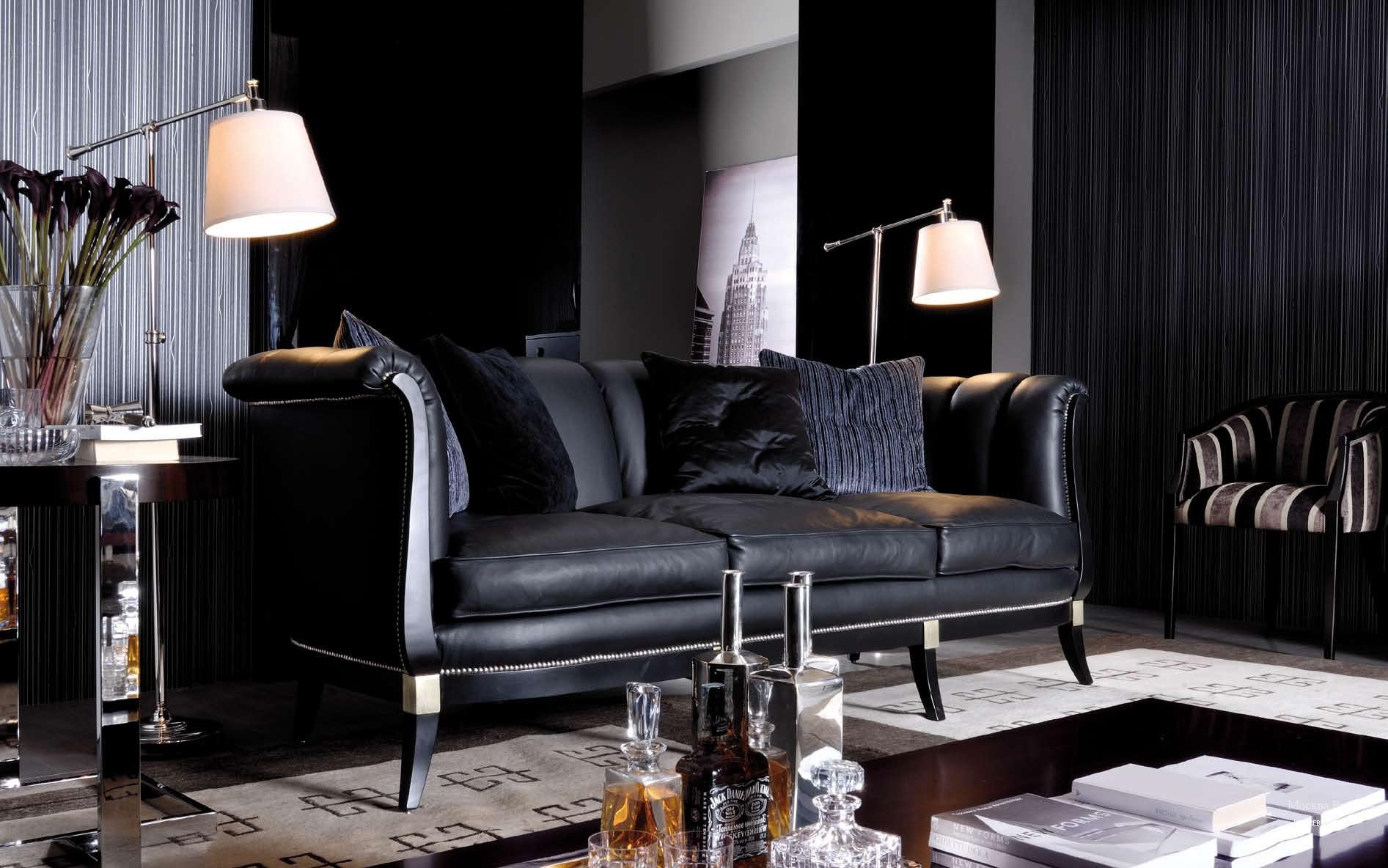 Черный диван в стиле ар-деко