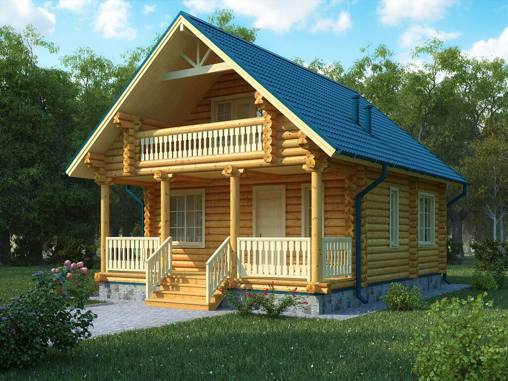 Проект дома из бревен с балконом