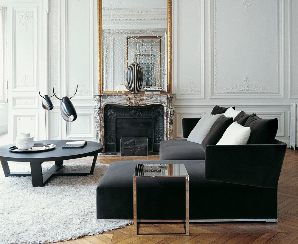 Черный бархатный диван