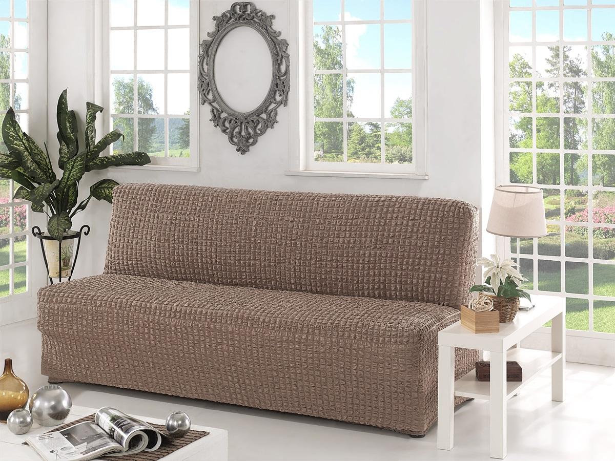 Бежевый диван без подлокотников