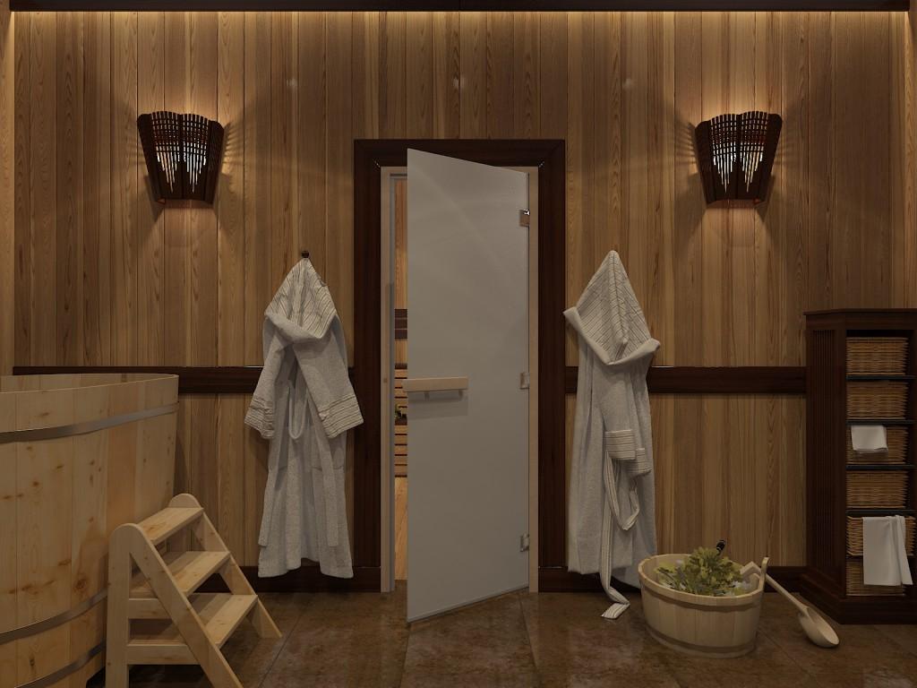 Белая дверь для сауны