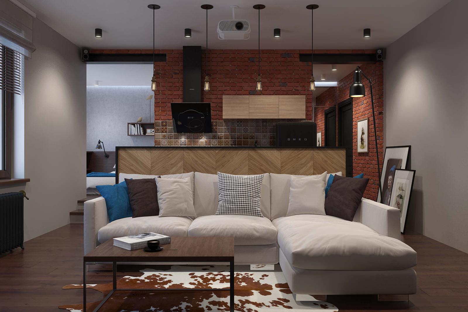 Белый кожаный диван в стиле лофт