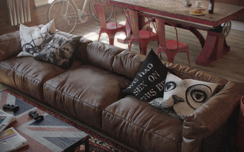 Бескаркасный диван в стиле лофт