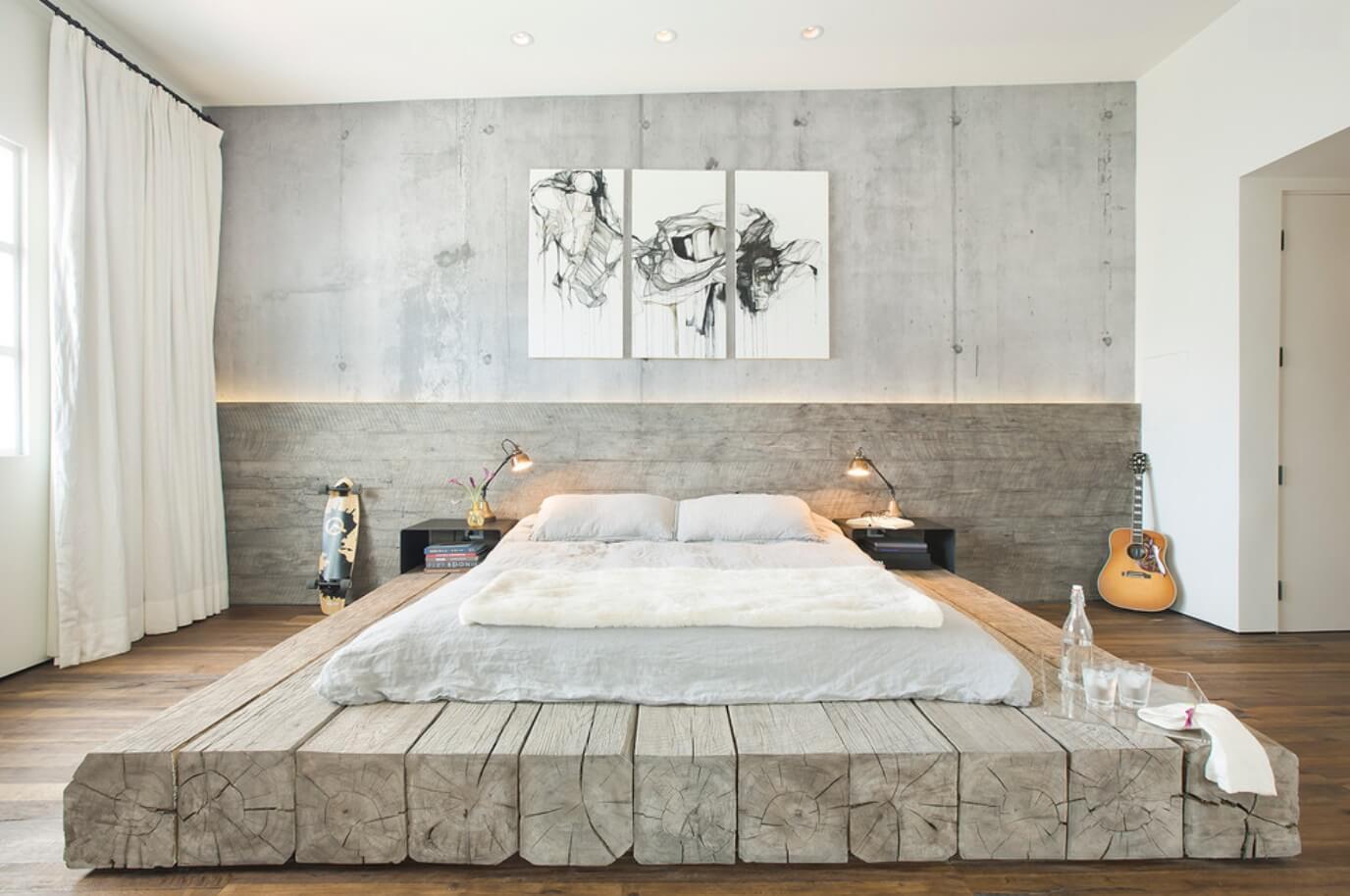 Бетонные стены в спальне в стиле лофт