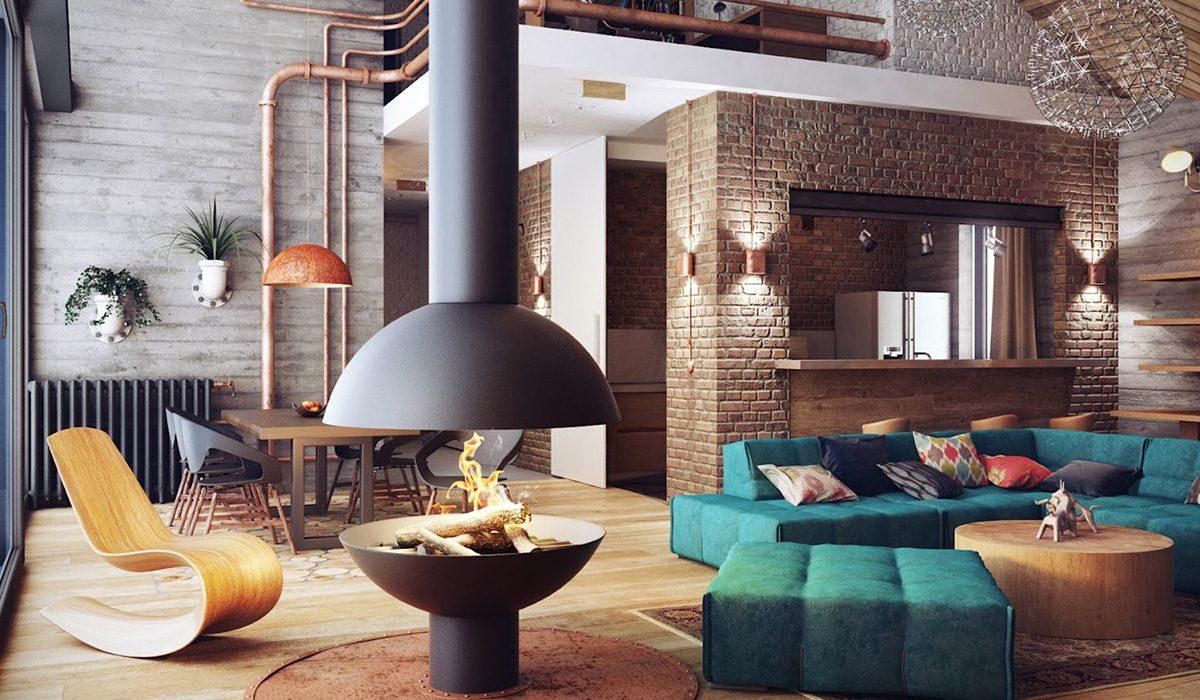 Бирюзовый диван в стиле лофт