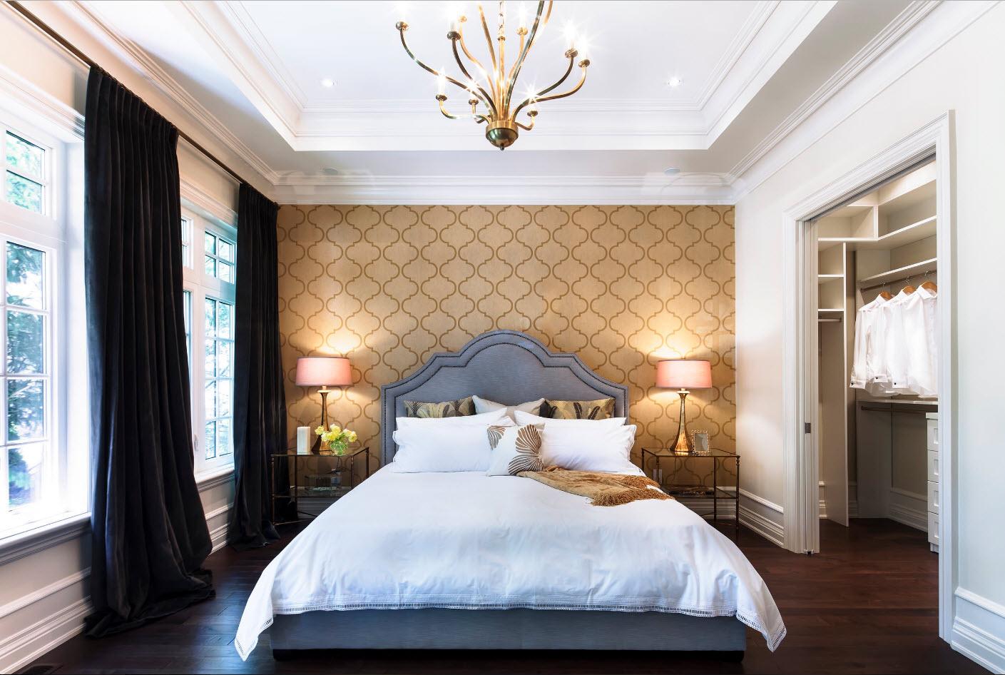 Черные шторы блэкаут в спальне