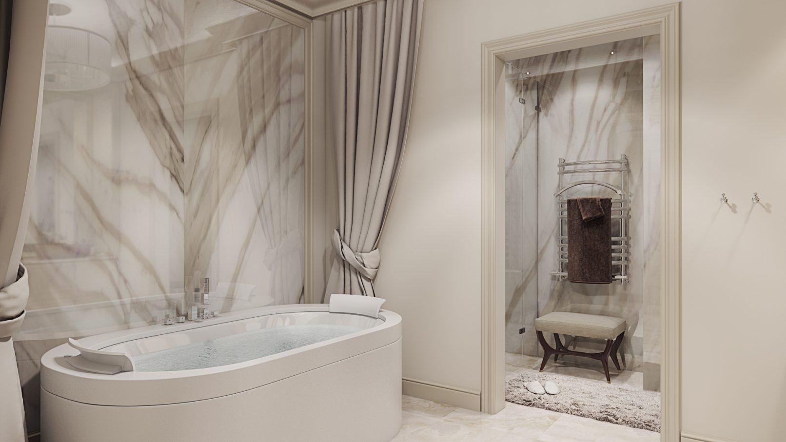 Овальная ванна со смесителем на бортике