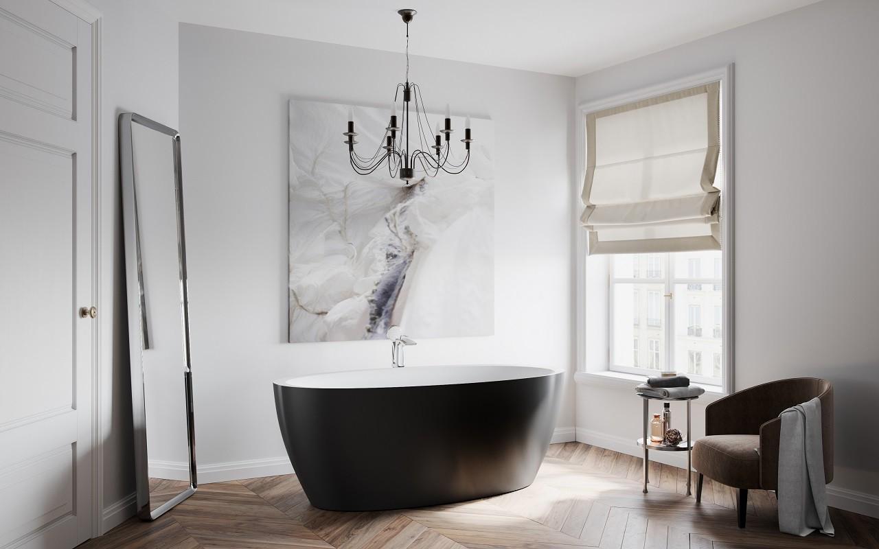 Овальная черная ванна
