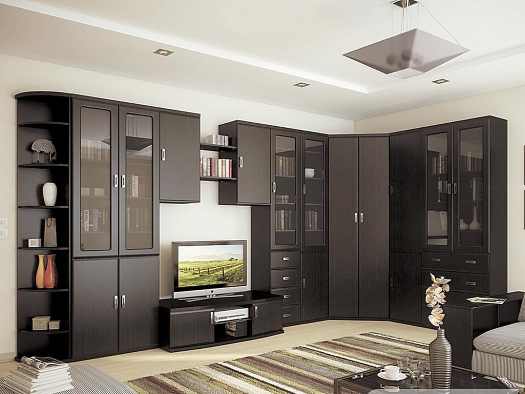 Черная угловая стенка в гостиную
