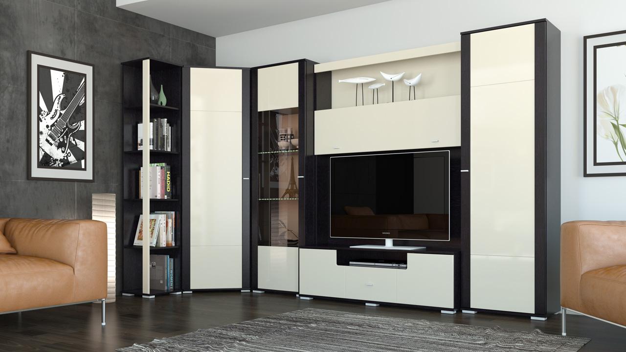 Черно-белая угловая стенка в гостиную