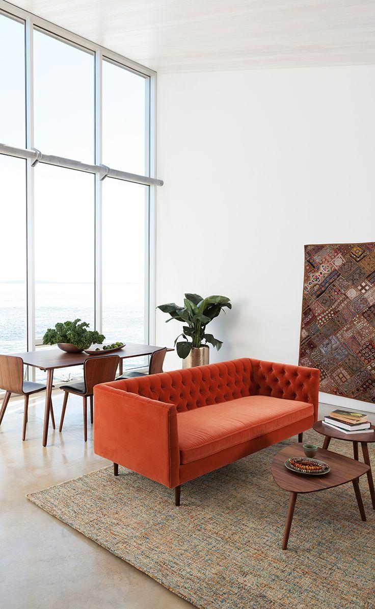 Оранжевый диван Честер