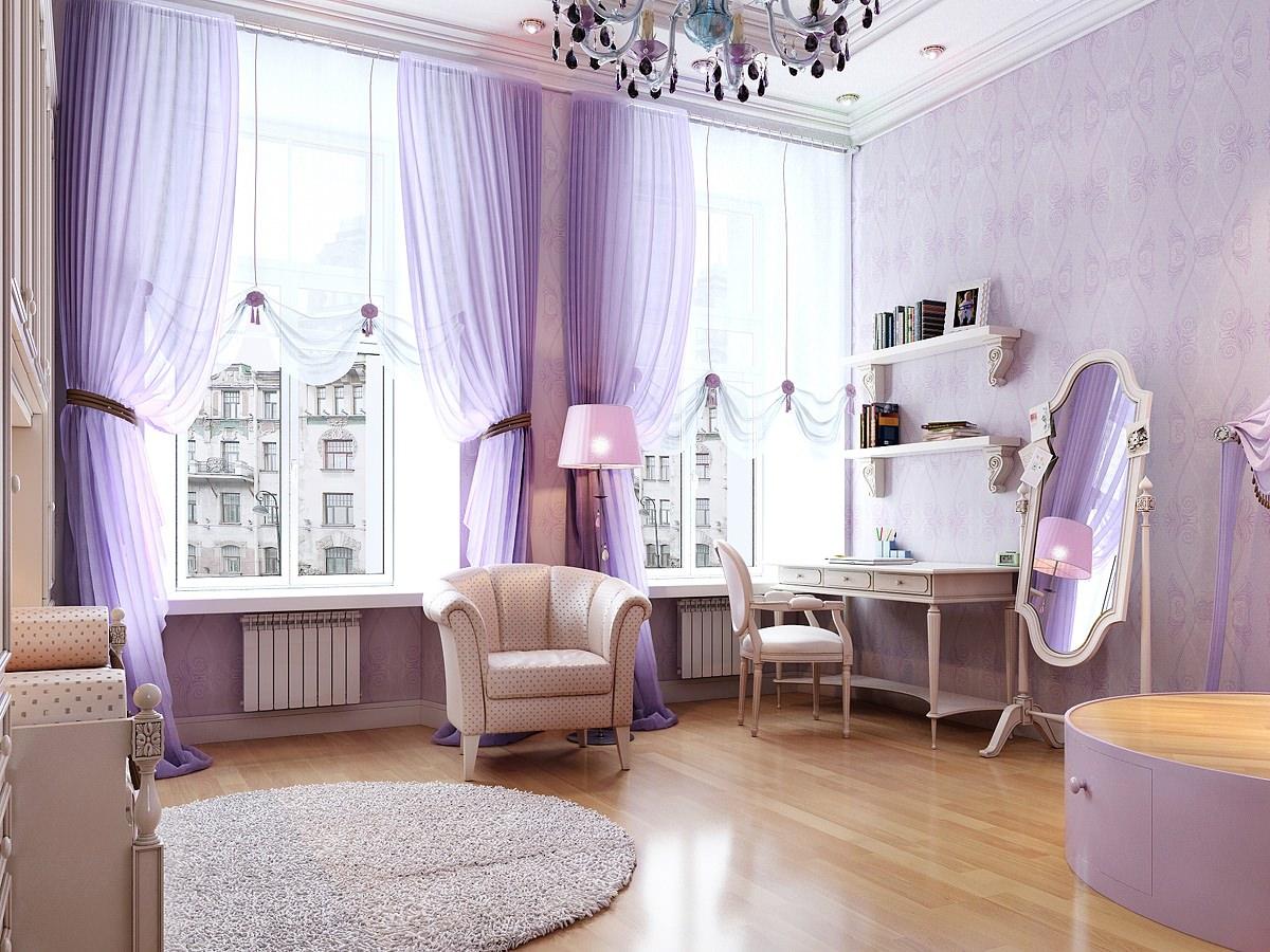 Сиреневая спальня в классическом стиле
