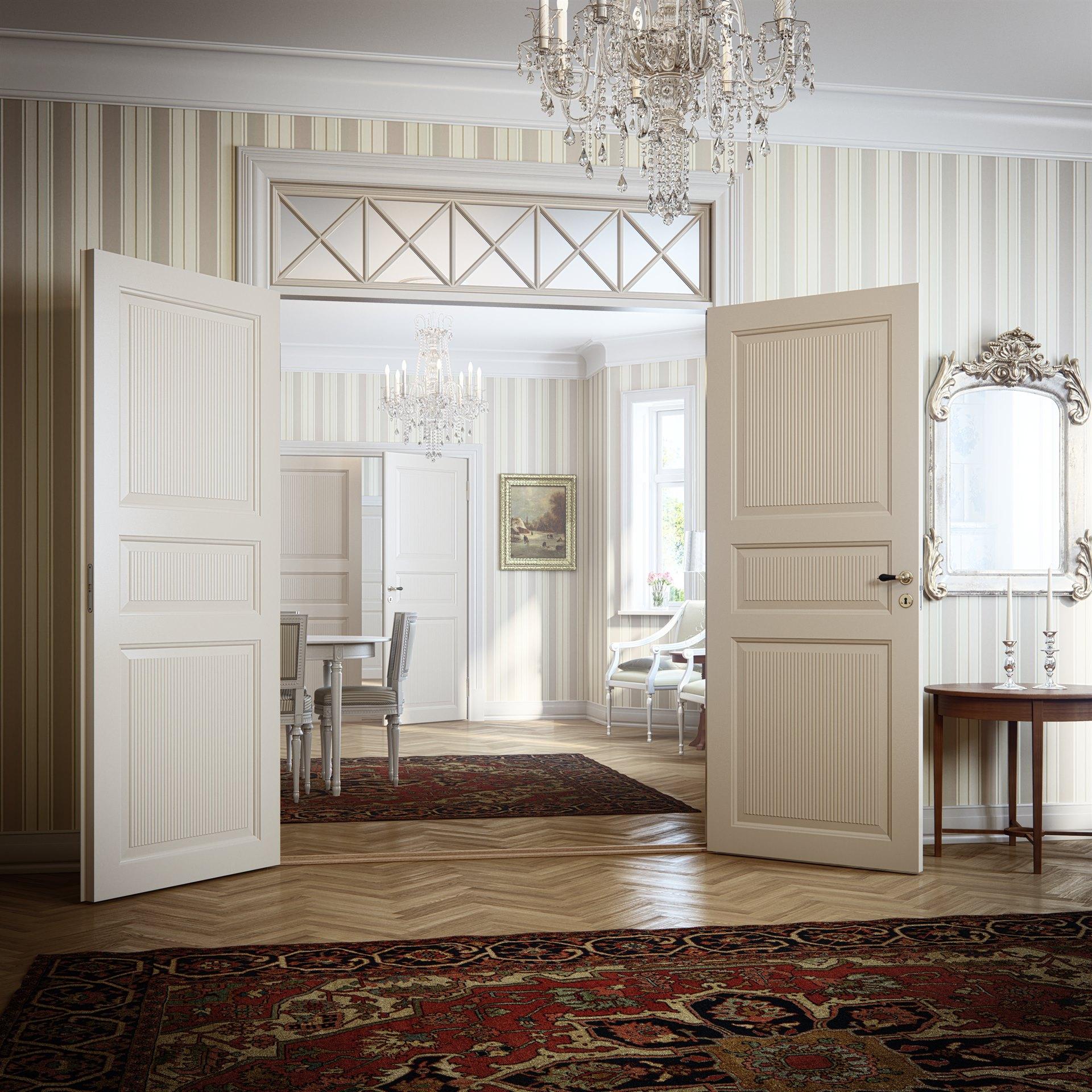 Белая дверь 3D в классическом стиле