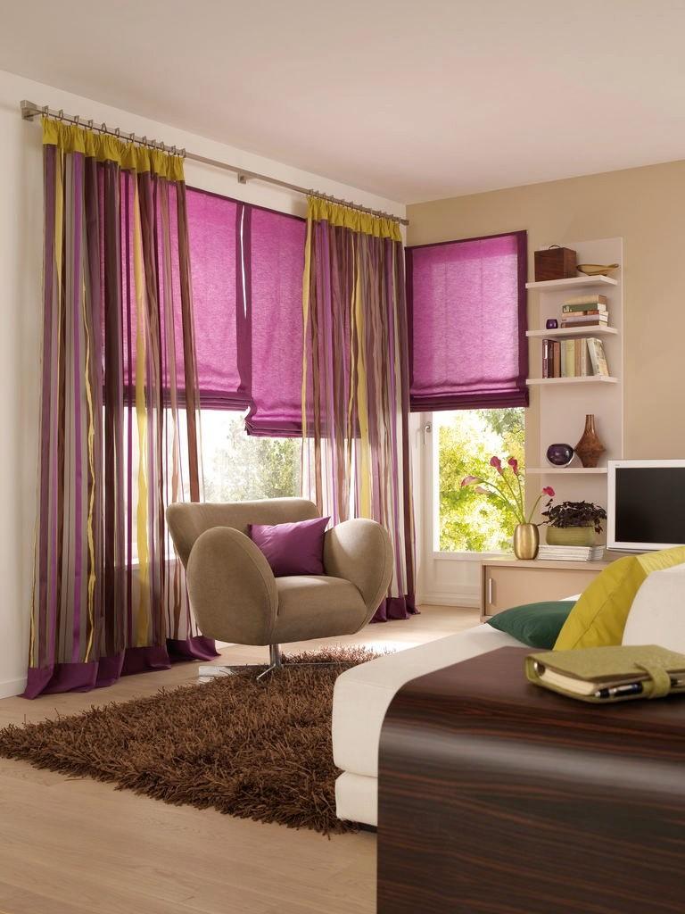 Цветной тюль для гостиной