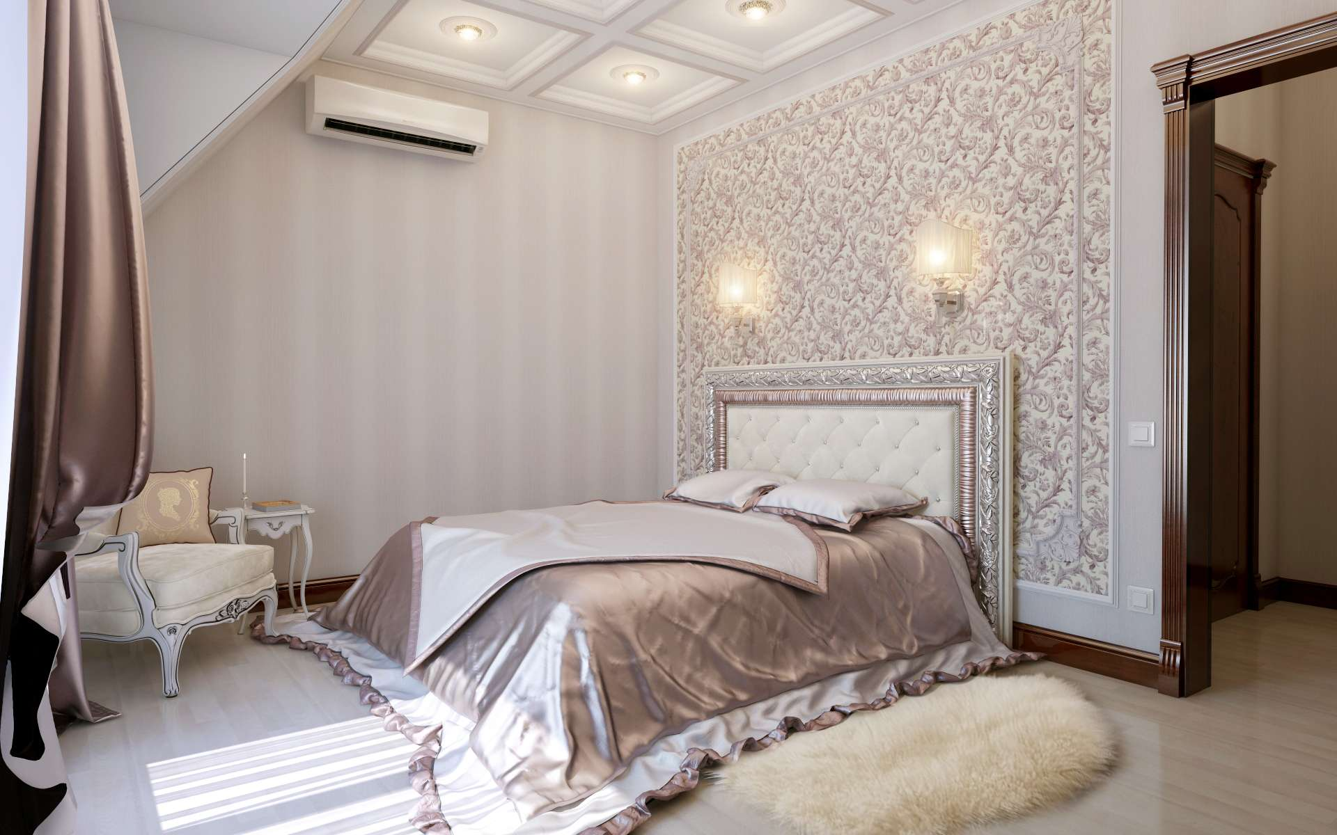 Реечная кровать с декором