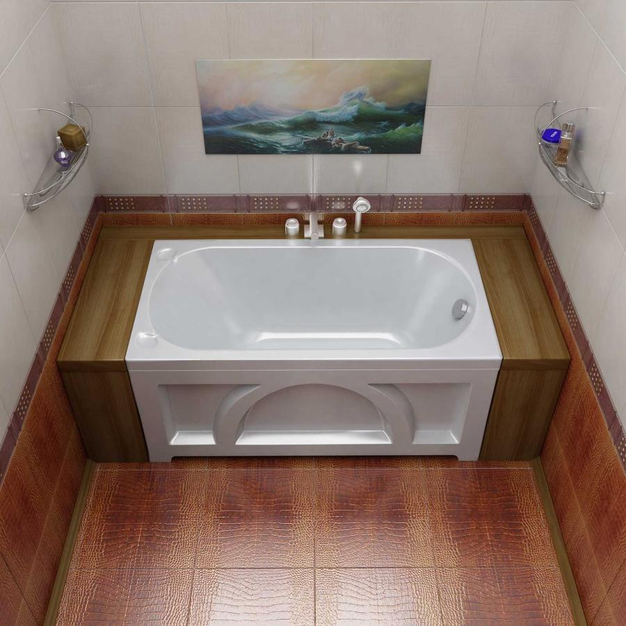 Прямоугольная ванна с декором