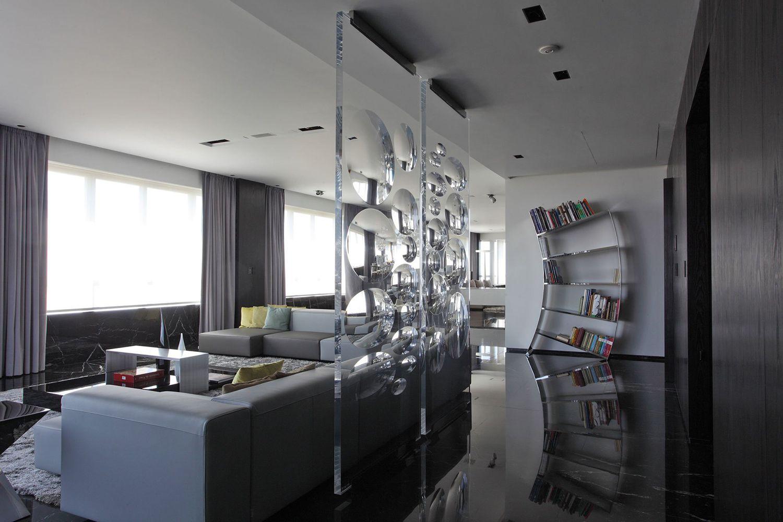 Декор в гостиной в стиле техно