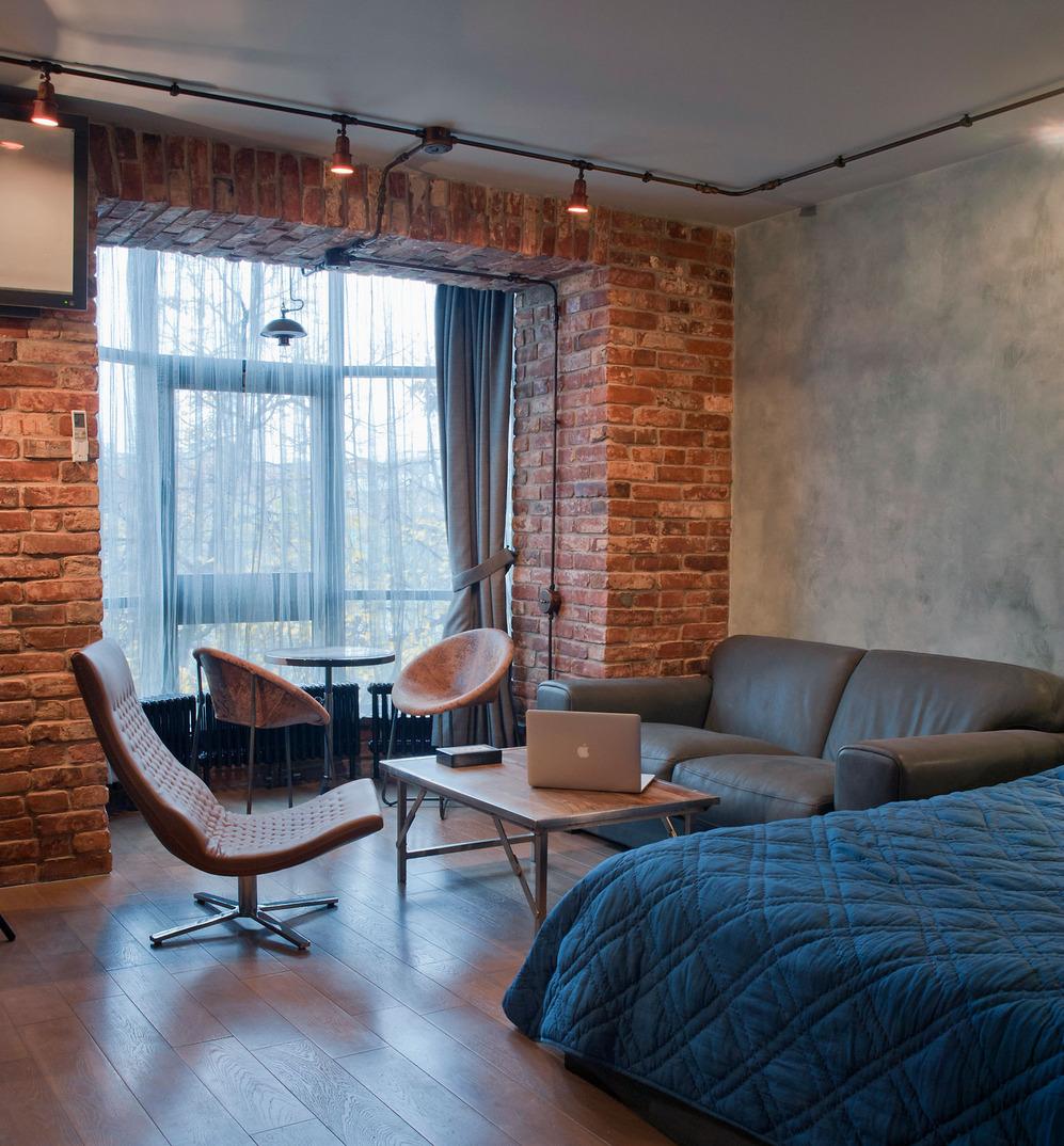 Спальня в стиле лофт в доме
