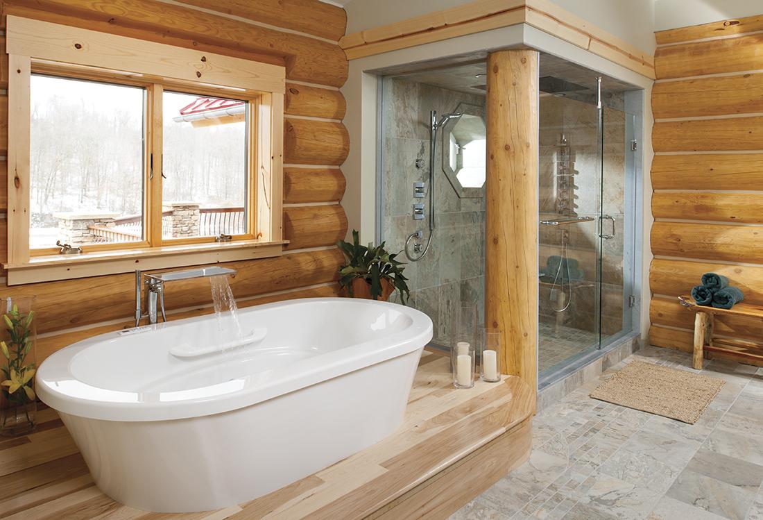 Душевая перегородка в ванной деревянного дома