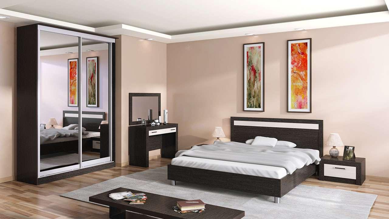 Спальня венге и беленый дуб