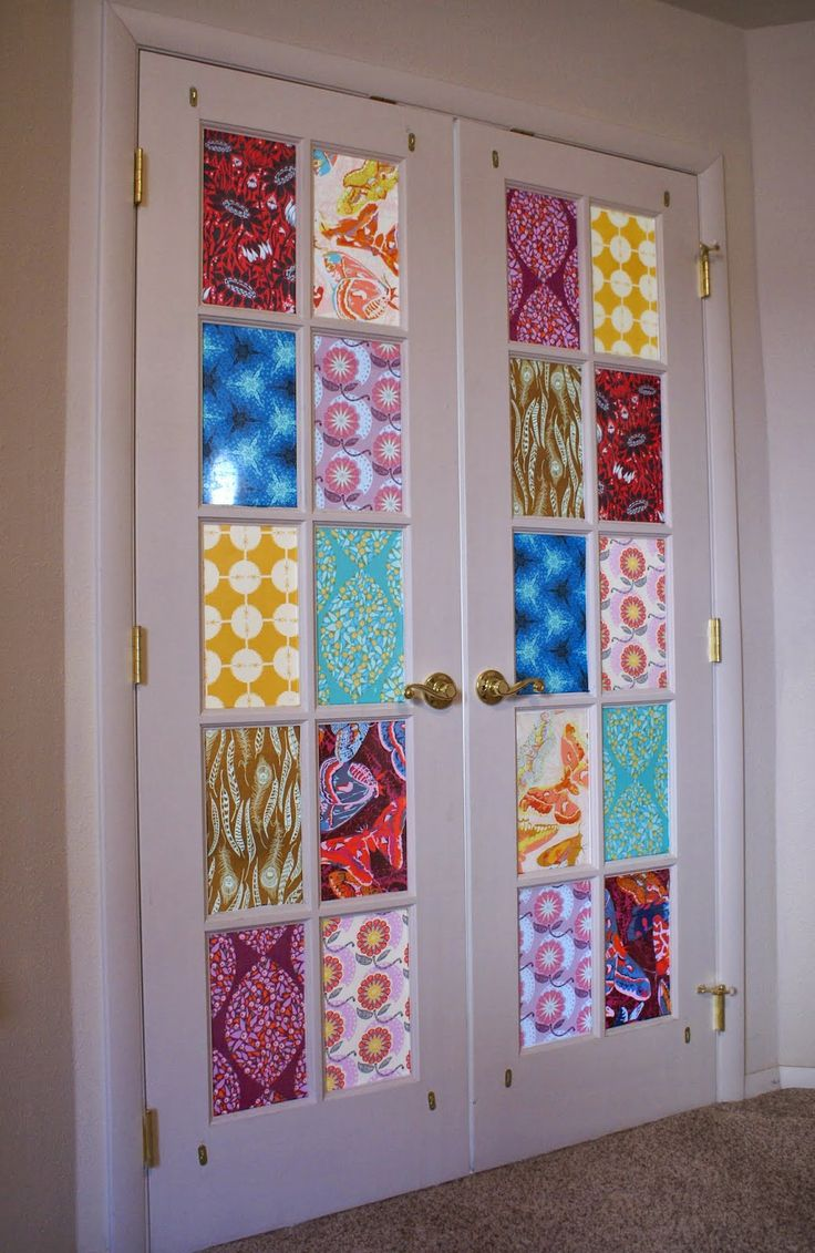 Декор двери тканью
