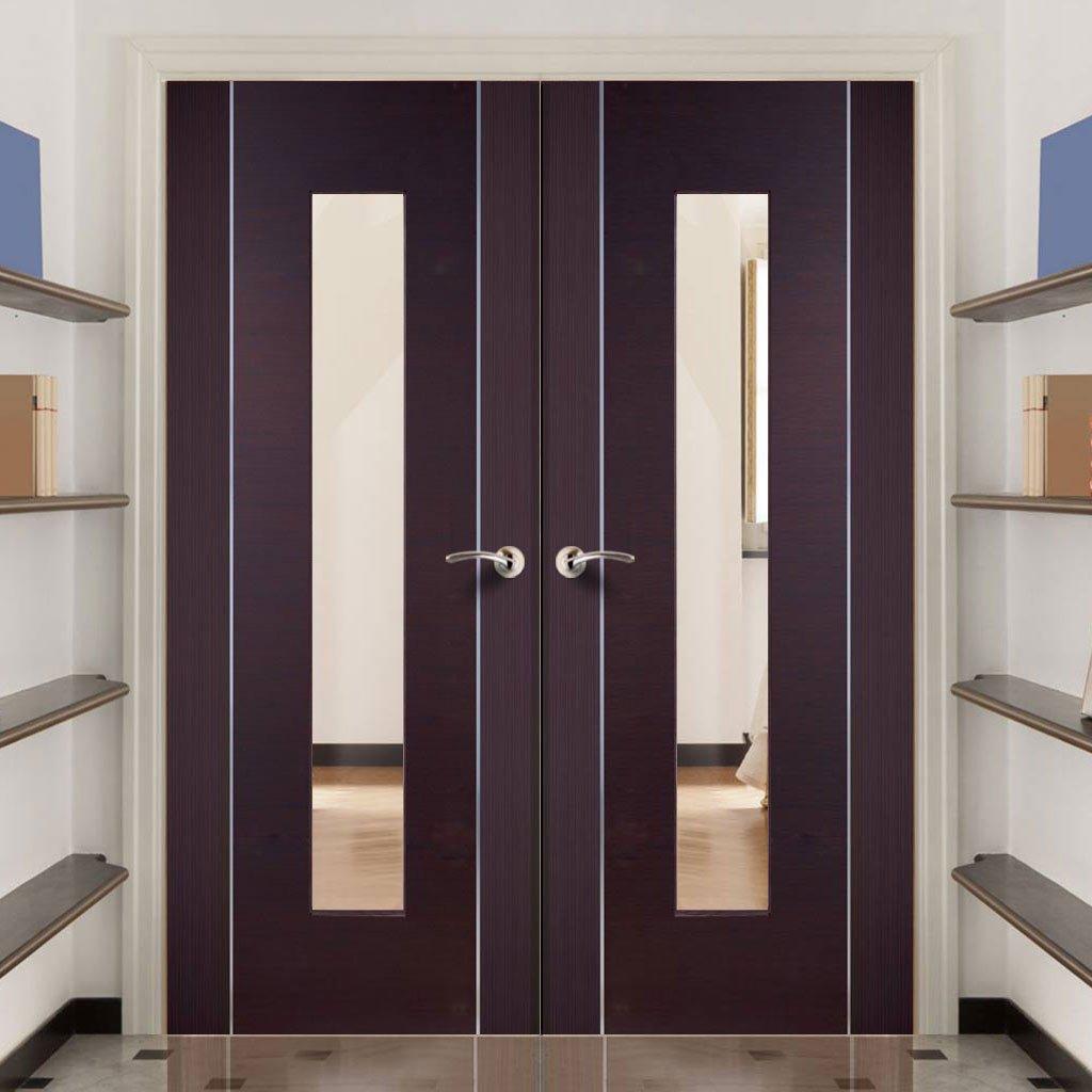 Двойная дверь цвета венге