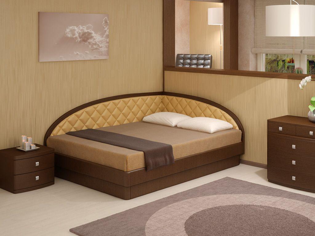 Угловая кровать с двойным изголовьем