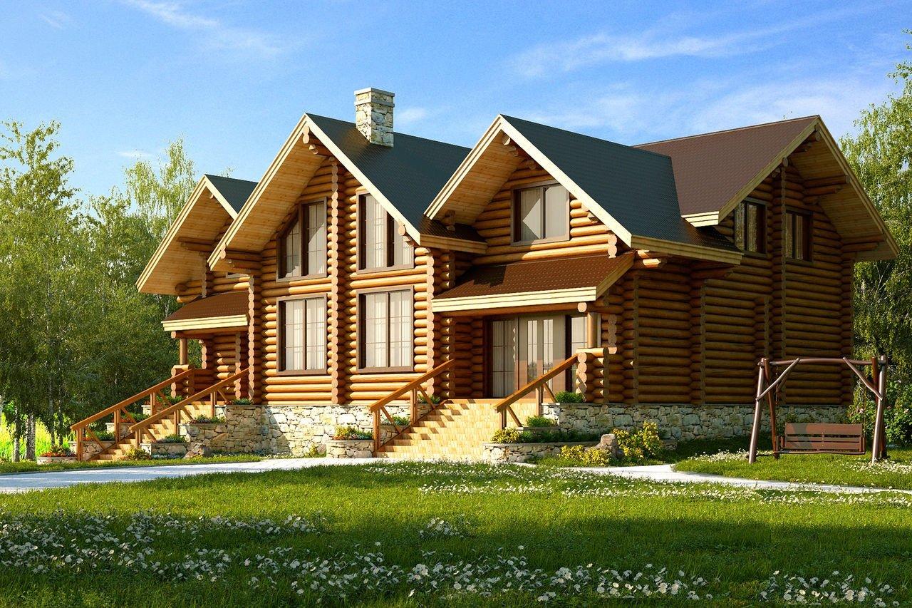 Проект двухэтажного дома из бревна