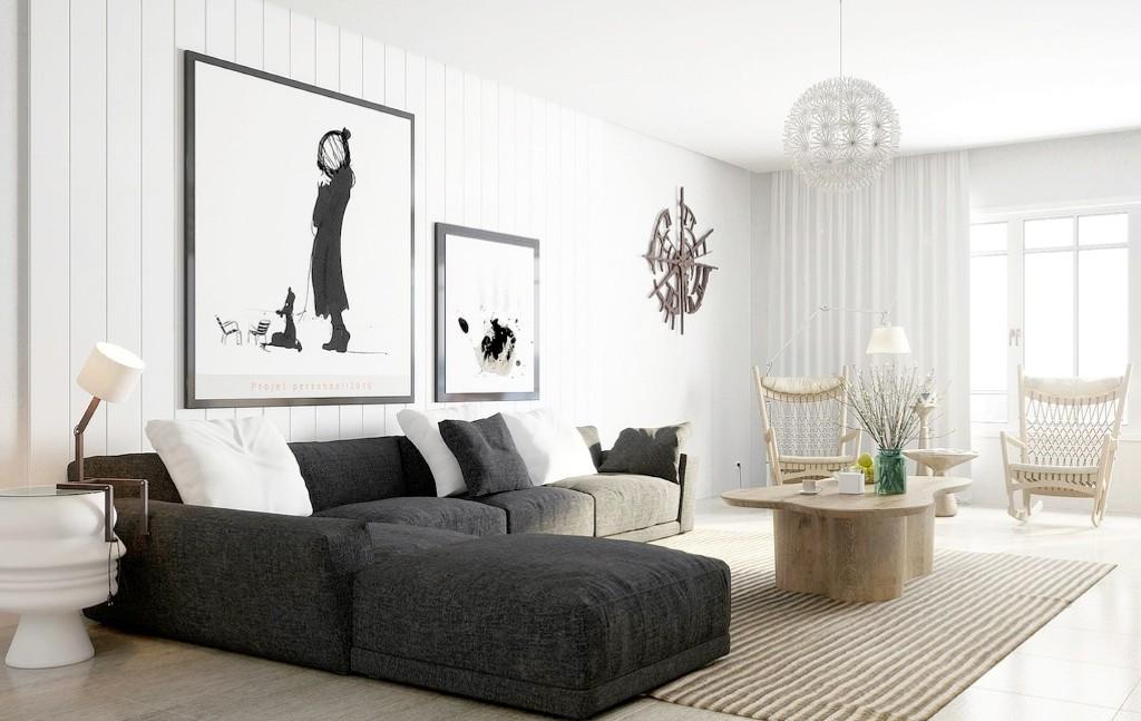 Черный диван в стиле эко