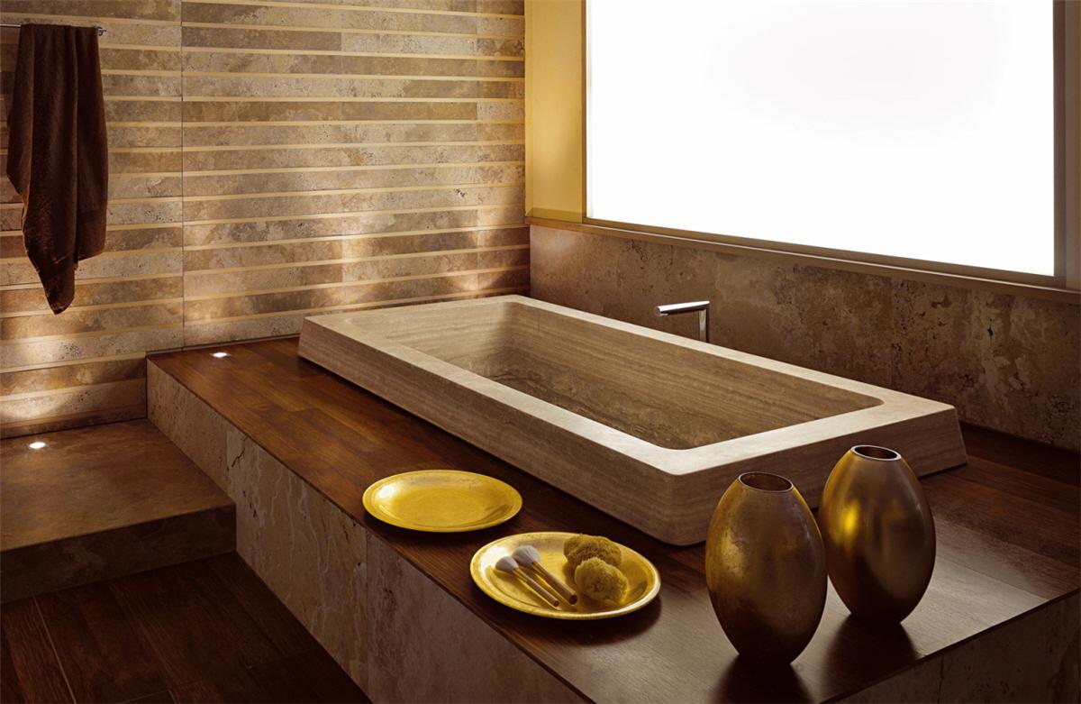 Прямоугольная ванна в стиле эко