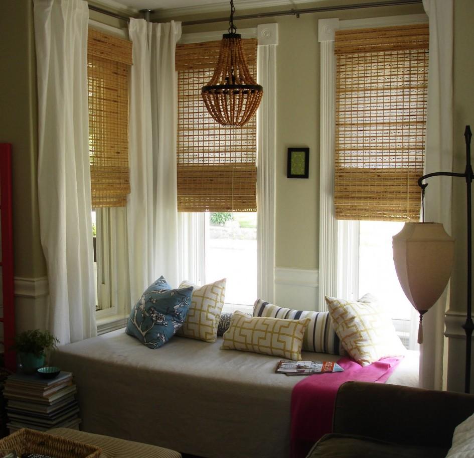 Бамбуковые шторы на эркер