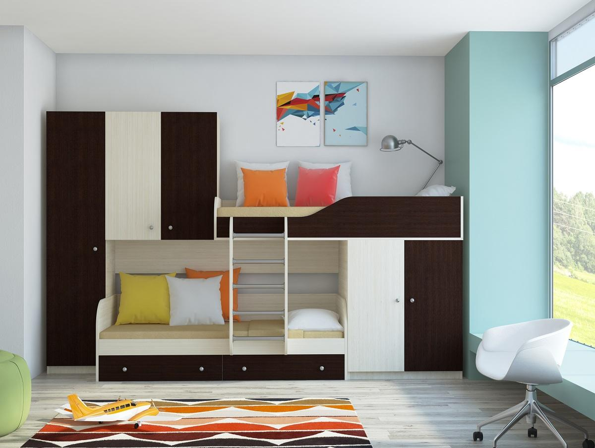 Двухэтажная кровать венге