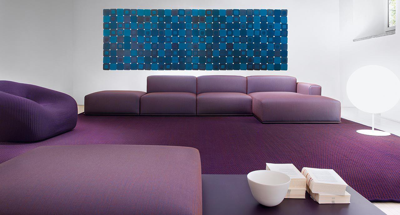Фиолетовый бескаркасный диван