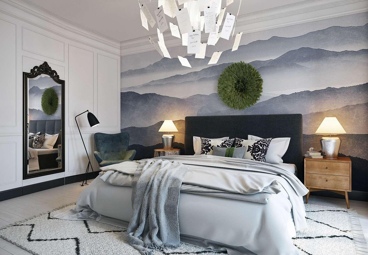 Фотообои в скандинавской спальне