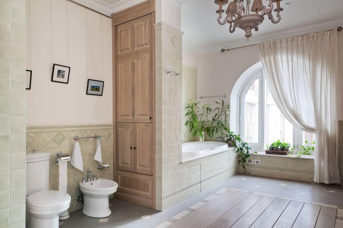 Шкаф в коробе из гипсокартона в ванной