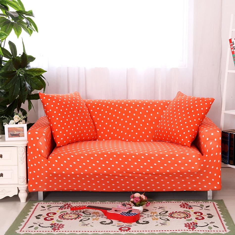 Оранжевый диван в горошек